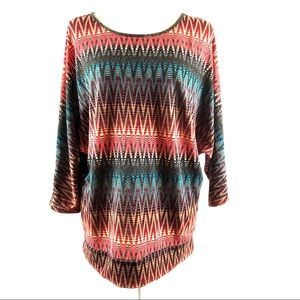 My Beloved Tribal Geo Print Dolman Top